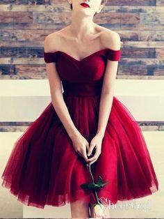 6b319970b1 Off the Shoulder Maroon Homecoming Dresses Tulle Knee Length Burgundy Hoco  Dress ARD1211