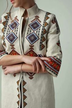 Ukraine, from Iryna Embroidery On Clothes, Embroidery Suits, Embroidered Clothes, Embroidery Fashion, Ethnic Fashion, Hijab Fashion, Boho Fashion, Fashion Dresses, Modest Fashion