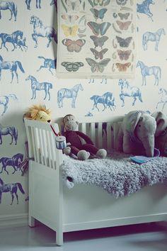 blue horse toile wallpaper---cute!   Details   Pinterest   Table ...