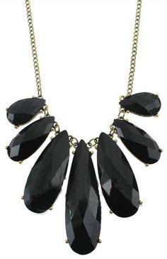Black Gemstone Gold Long Necklace