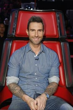 Adam Levine wearing Rolex Oyster Datejust 1603 Blue Dial