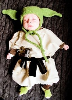 Little Yoda... @Lauren P I feel like you would come home one day and see your future child dressed up like this...thanks to your lovely Justin. Hahaha.