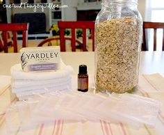 Fill a small cloth bag with oatmeal, a little grated soap, and a few drops of your favorite essential oils and you have the benefits of an oatmeal bath that you can take into the shower with you! Plus, the cloth from the bag will provide a light scrubbing action to help clean and exfoliate your skin.