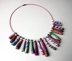 Stripes necklace. van SilviaOrtizDeLaTorre op Etsy