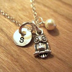 Hand stamped OWL Charm Necklace with 1/4 disc and by LifeIsRosey, $38.00