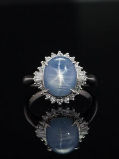 Vintage natural Ceylon star sapphire and diamond platinum cluster ring Star Sapphire Gemstone, Blue Star Sapphire, Sapphire Jewelry, Gems Jewelry, Gemstone Jewelry, Jewellery, Cluster Ring, Star Cluster, Art Deco Diamond
