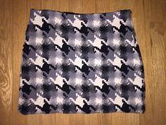J. Crew Black Gray Wool Houndstooth Check Straight Mini Skirt Sz 8 Ivory Tweed #JCrew #StraightPencil