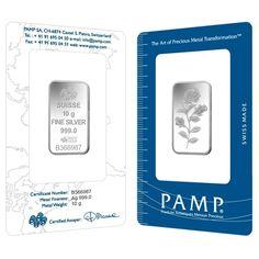 10 Gram PAMP Suisse Rosa Silver Bar .999 Fine (In Assay)