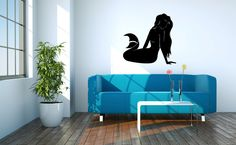 Mermaid Vinyl Wall Decal Sticker Graphic Made from 10 year high quality vinyl which leaves no residue upon removal. Measures 36 x 36 inches. We make each design as it is ordered. Please allow 1-2 days