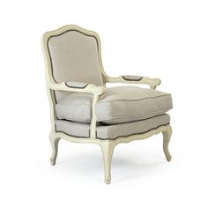 Bastille Love Chair   Linen On White Wood With Nailheads