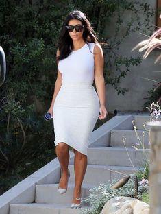 15 Ways Kim Kardashian Wears Pencil Skirts // With All-White