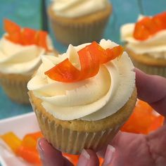 My candied carrot curls are crunchy and sweet with a light lemony flavor. Carrot Cake Cupcakes, Cupcake Cakes, Food Cakes, Mocha Cupcakes, Diy Cupcake, Strawberry Cupcakes, Easter Cupcakes, Flower Cupcakes, Velvet Cupcakes