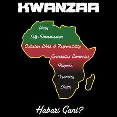 "Kwanzaa T-shirt by Samuel Sheats on Redbubble listing the 7 basic principles of Kwanzaa. ""Habari Gani?"" is the traditional Swahili greeting during Kwanzaa that means, ""What's the news?"". #kwanzaa #africanamerican"