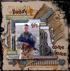 The pic on this LO is of my partner's younger brother & the pic was taken on 1 of his tours to Iraq as an Australian Army soldier. I had never done a Military type LO before & just wanted to see if I could do it. TFL Ladies 