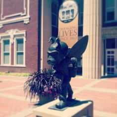 """Corky in front of Plumb Hall. Emporia State University has been """"Changing Lives Since 1863."""""""