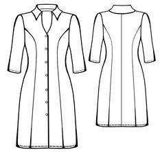 Shirt Dress  - Sewing Pattern #5558. Made-to-measure sewing pattern from Lekala…