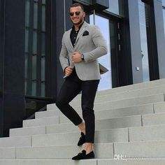 Classy Grey Men Business Suits for Groom Tuxedo Bridegroom Outfit Slim Fit Terno Masculino Man Attire Groomsmen Blazers Costume Homme Blazer Outfits Men, Mens Fashion Blazer, Stylish Mens Fashion, Suit Fashion, Men Blazer, Casual Outfits, Formal Fashion, Classy Outfits, Casual Dresses