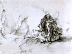 crumpled paper-drawing by Immortelle on DeviantArt Drawing Bag, Paper Drawing, Fabric Drawing, Pencil Drawings, Art Drawings, Crushed Paper, Wrinkled Paper, Paper Architecture, Observational Drawing