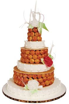 This a mix of a Croquembouche and a wedding cake.