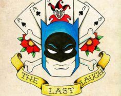 Batman Skull and Crossbones Neo-Traditional, Old School Tattoo Flash Print