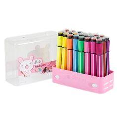 Estojo Com 24 Canetinhas Hidrocor Color Com Carimbo - Rosa - R$ 24,89
