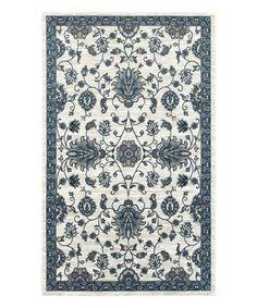Another great find on #zulily! White & Slate Blue Arabesque Rug #zulilyfinds