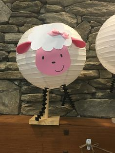 Pink Lamb lantern baby shower