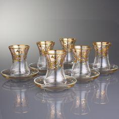 12 PEÇAS CONJUNTO DE COPOS DE VIDRO / Babilônia Ouro-Jogo de chá - Produtos Importados da Turquia - Loja VirtualProdutos Importados da Turquia – Loja Virtual