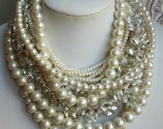 Chunky multilayer pearl and rhinestone necklace chunky bridal