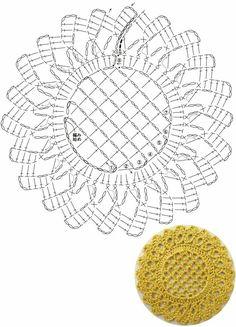 Crochet Motif Patterns, Crochet Diagram, Crochet Chart, Diy Crochet, Crochet Designs, Crochet Circles, Crochet Leaves, Crochet Round, Crochet Squares