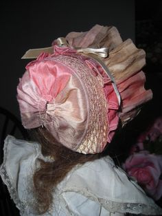 Straw Hat with Silk Ribbons Antique Style for French or German Bisque Doll | eBay