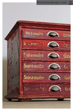 Antiek Gütermann kastje met lades