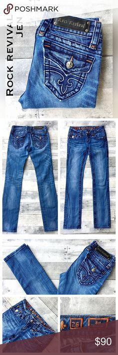 "Rock Revival Jen straight leg jeans 26 X 31 Jen Straight leg is medium blue with intentional distressed detailing. Flap pocket w/ fleur des lise buttons. 8"" rise; 31"" inseam. Rock Revival Jeans Straight Leg"
