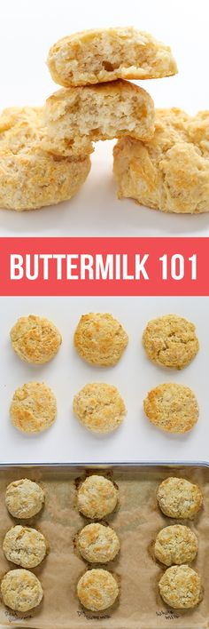 Diving into buttermilk 101 – A fun visual guide to buttermilk including what it is, what it does in baking, and exploring side-by-side substitute comparisons! Baking Basics, Baking Tips, Baking Recipes, Snack Recipes, Baking Science, Food Science, Food 101, Food Tips, Marmalade Recipe