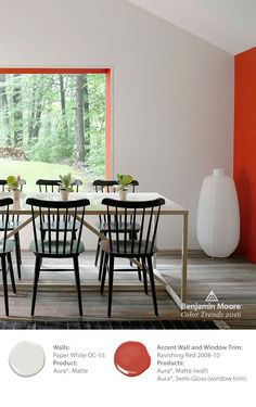 Add personality and dimension with a colorful accent wall and dark chairs against a white backdrop. Benjamin Moore designers chose 'Ravishing Red' next to 'Paper White' in our Aura paint for this striking look, part of the Color Trends 2016 collection. Red Paint Colors, Wall Colors, Grey Colors, Gray Paint, Home Studio, Home Renovation, Trending Paint Colors, Accent Walls In Living Room, Benjamin Moore Colors