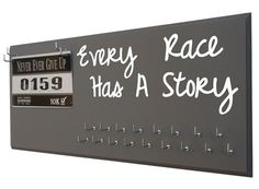 Every race has a story - medal hanger - Display all your race medal in a fashion way! - Choose from 20 colors and 9 different sizes - each hooks can hold many medals and 100+ race bibs - $39.99