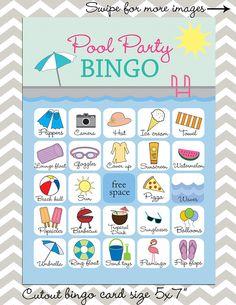 Pool Party bingo 25 unique game cards Printable Instant Pool Party Crafts, Pool Party Games, Pool Party Kids, Beach Party, Bingo Cards, Printable Cards, Game Cards, Card Games, Printables