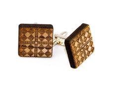 4Square Diamond Geometric Patterned Wooden Cufflinks -Men's Engraved Wood Formal Wear Cuff Links on Etsy, $20.00