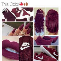 nike, hair, and nails image Pastel Outfit, Color Borgoña, Hair Color, Nike, Maroon Hair, Crimson Hair, Hair Shades, About Hair, Hair Inspo