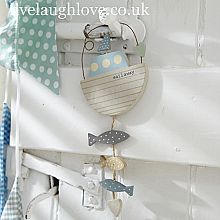 Wooden Boat, Fish & Heart Hanging