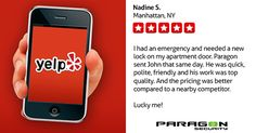 """Your satisfaction is our top priority! Take a look at what our customer's are saying:    """"I had an emergency and needed a new lock on my apartment door. Paragon sent John that same day. He was quick, polite, friendly and his work was top quality. And the pricing was better compared to a nearby competitor. Lucky me!"""" -Nadine S. Manhattan, NY   #NYCLocksmith #24hrLocksmith #NYCSecurity #LocksmithNYC #ParagonLocksmith #EmergencyLocksmith #WeCare #buildingsecurity #lockrepair #doorrepair"""