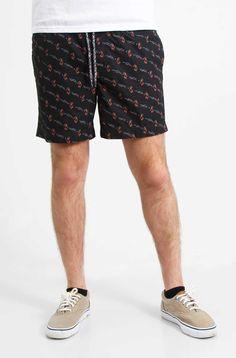 Retrofit Flamingo Print Pool Shorts for Men in Black BYR6-1130S-B601
