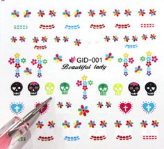 Buy 2 get 1 Free Skull Nail sticker Nail Art decal by tigerlilies, $2.30