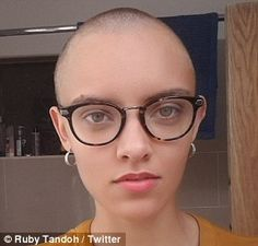 Hair today, gone tomorrow: Former GBBO runner-up Ruby Tandoh, 24, shaved off her bouncy curls and shared pictures of her new look with her social media followers Bake Off Contestants, Pixie Styles, Hair Styles, Buzz Cut Women, Hair Today Gone Tomorrow, Bald Girl, Bald Women, Bouncy Curls, British Bake Off