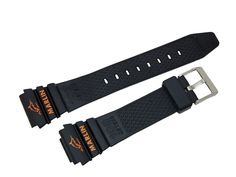 "Timex Black Rubber with Orange Lettering Marlin Watch Band Material: PVC (rubber). ""MARLIN"" & Image of ""fish"" on end of both parts of band-in orange color,. Image Of Fish, Ironman Triathlon, Timex Watches, Rubber Watches, Black Rubber, Watch Bands, Orange Color, Iron Man, Belt"