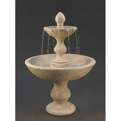 Get a dramatic, relaxing, waterfall-like water sound from the uniquely designed Vincenza Fountain, crafted of durable cast stone to look like real natural stone. The fountain will bring beauty as well as the soothing sound of water to your yard or garden. Garden Water Fountains, Stone Fountains, Water Garden, Outdoor Fountains, Tiered Garden, Stone Planters, Lawn And Landscape, Water Features In The Garden, Cast Stone
