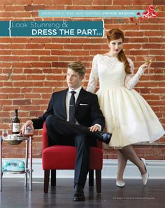 Mad Men Inspired Wedding Shoot in November issue with dress from Maiden Voyage Bridal, suit from Men's Wearhouse, props from Retro 101, photography by Salvatore Cincotta Photography.