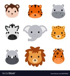 Illustration about Baby shower cute safari animals. Set of 9 animal heads isolated on white background. Safari Animals, Cute Baby Animals, Woodland Animals, Kids Vector, Cat Vector, Vector File, Cute Animal Videos, Cute Animal Pictures, Owl Cartoon