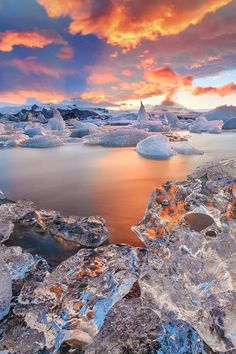 Magnificent Nature in Blue and Peach - Blue and Pastel Orange #WinterLandscape