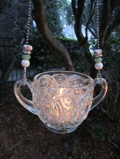 Vintage Glass Luminary--Love this!